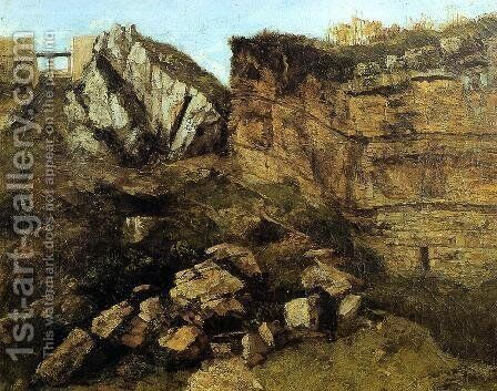 Crumbling Rocks by Gustave Courbet - Reproduction Oil Painting