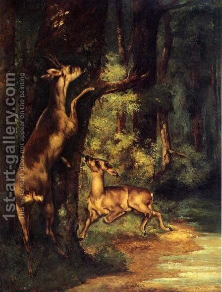 Male and Female Deer in the Woods by Gustave Courbet - Reproduction Oil Painting