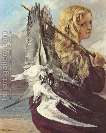 Girl with Seagulls, Trouville by Gustave Courbet - Reproduction Oil Painting