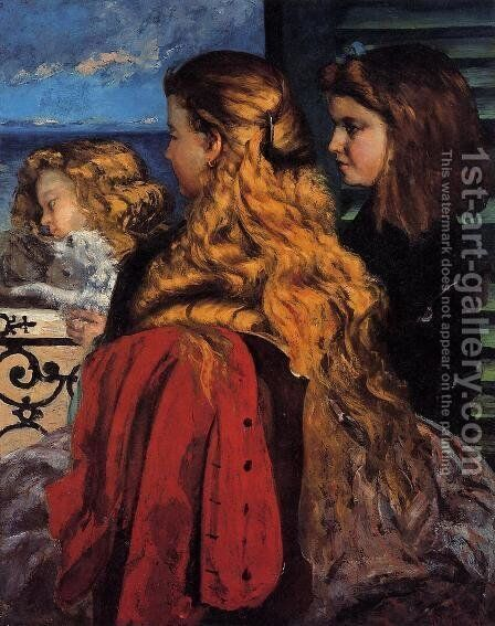 Three English Girls at a Window by Gustave Courbet - Reproduction Oil Painting