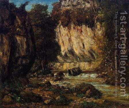 River and Cliff by Gustave Courbet - Reproduction Oil Painting