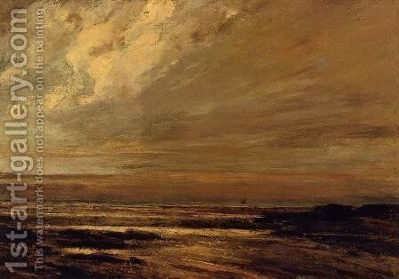 The Beach at Trouville at Low Tide II by Gustave Courbet - Reproduction Oil Painting