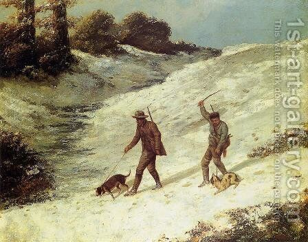 Poachers in the Snow by Gustave Courbet - Reproduction Oil Painting