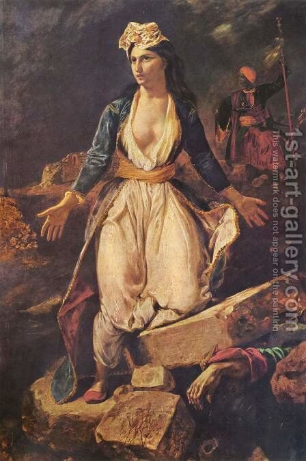 Greece on the Ruins of Missolonghi by Eugene Delacroix - Reproduction Oil Painting