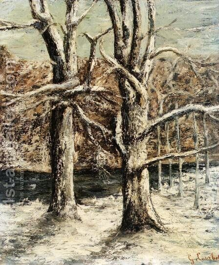 Woods in the Snow by Gustave Courbet - Reproduction Oil Painting