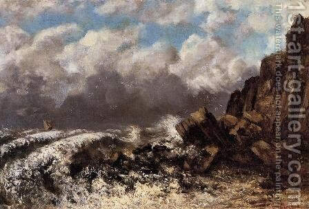Seascape at Etretat by Gustave Courbet - Reproduction Oil Painting