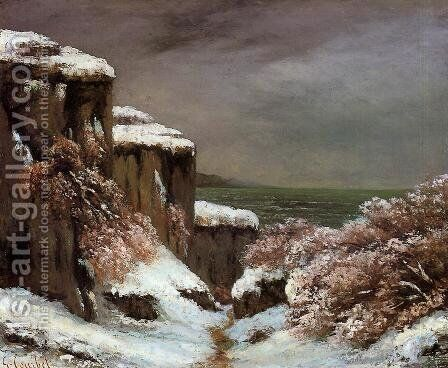 Cliffs by the Sea in the Snow by Gustave Courbet - Reproduction Oil Painting
