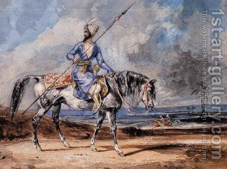 A Turkish Man on a Grey Horse by Eugene Delacroix - Reproduction Oil Painting