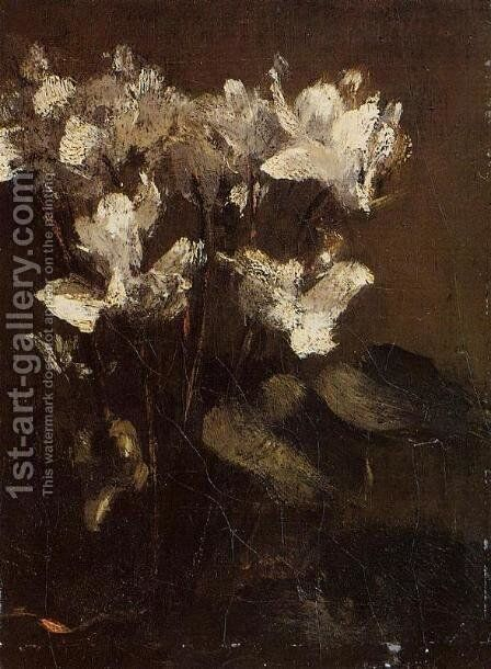Flowers, Cyclamens by Ignace Henri Jean Fantin-Latour - Reproduction Oil Painting