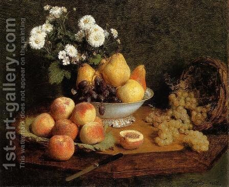 Flowers and Fruit on a Table by Ignace Henri Jean Fantin-Latour - Reproduction Oil Painting