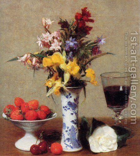 The Bethrothal Still Life by Ignace Henri Jean Fantin-Latour - Reproduction Oil Painting
