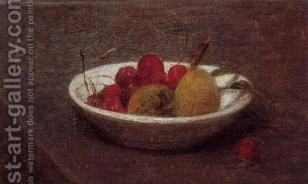 Still Life of Cherries and Almonds by Ignace Henri Jean Fantin-Latour - Reproduction Oil Painting