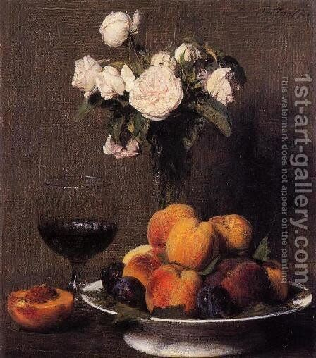 Still Life with Roses, Fruit and a Glass of Wine by Ignace Henri Jean Fantin-Latour - Reproduction Oil Painting