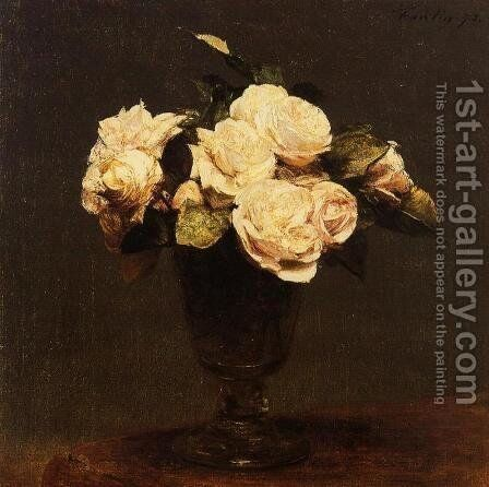 White Roses 2 by Ignace Henri Jean Fantin-Latour - Reproduction Oil Painting