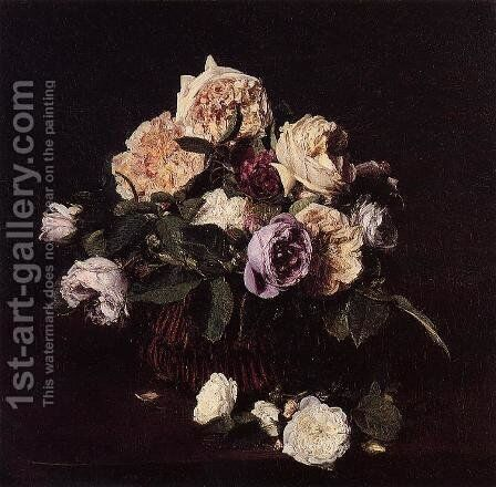 Roses in a Basket on a Table by Ignace Henri Jean Fantin-Latour - Reproduction Oil Painting