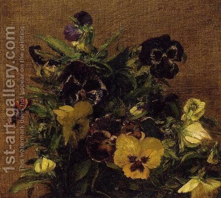 Pansies 2 by Ignace Henri Jean Fantin-Latour - Reproduction Oil Painting
