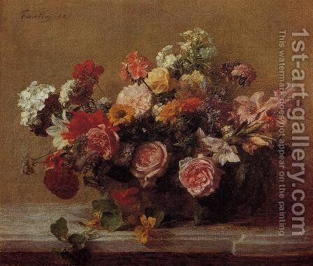 Flowers VI by Ignace Henri Jean Fantin-Latour - Reproduction Oil Painting