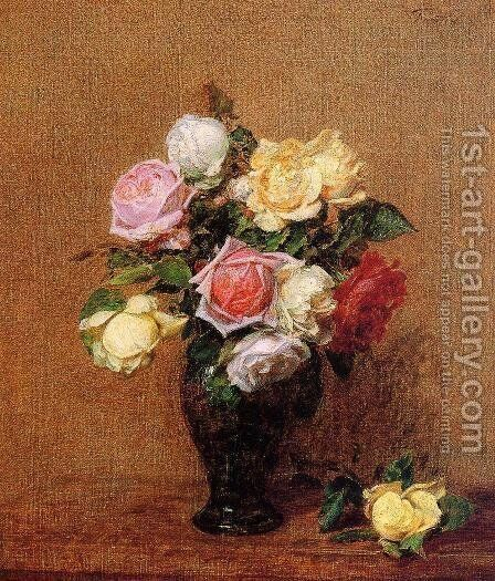 Roses VII by Ignace Henri Jean Fantin-Latour - Reproduction Oil Painting