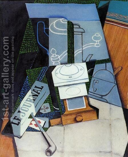 Newspaper with Coffee Mill by Juan Gris - Reproduction Oil Painting
