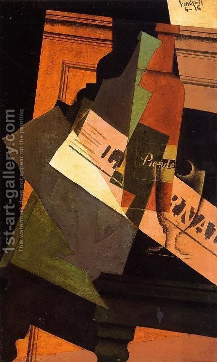 Bottle, Glass and Newspaper by Juan Gris - Reproduction Oil Painting