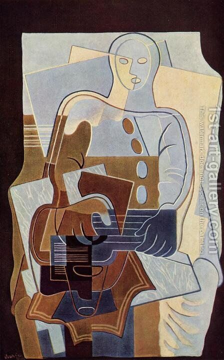 Pierrot with Guitar by Juan Gris - Reproduction Oil Painting