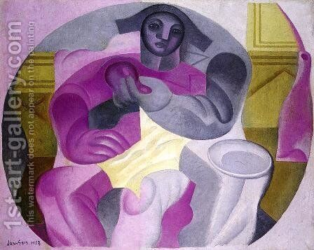 Seated Harlequin by Juan Gris - Reproduction Oil Painting