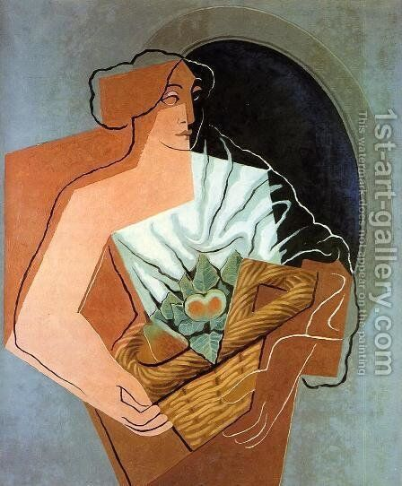 Woman With Basket by Juan Gris - Reproduction Oil Painting