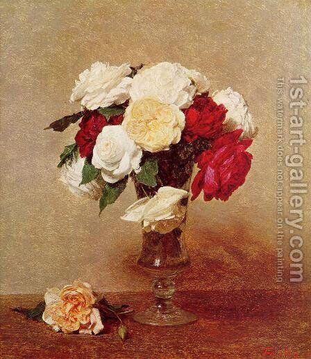 Roses in a Stemmed Glass by Ignace Henri Jean Fantin-Latour - Reproduction Oil Painting