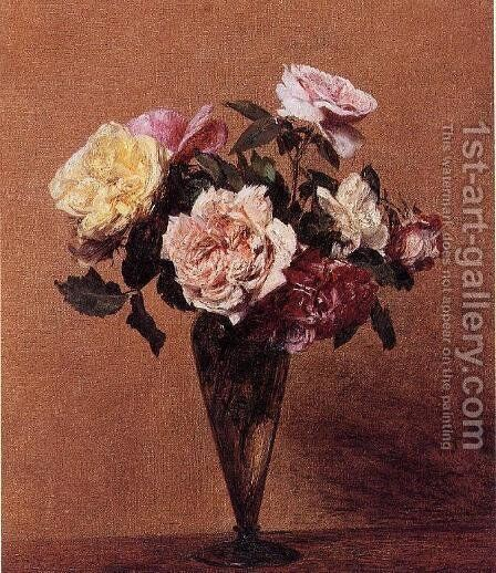 Roses in a Vase II by Ignace Henri Jean Fantin-Latour - Reproduction Oil Painting