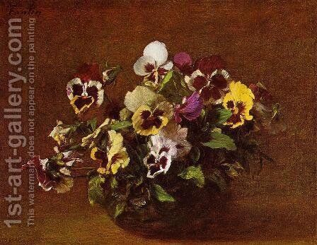 Pansies II by Ignace Henri Jean Fantin-Latour - Reproduction Oil Painting