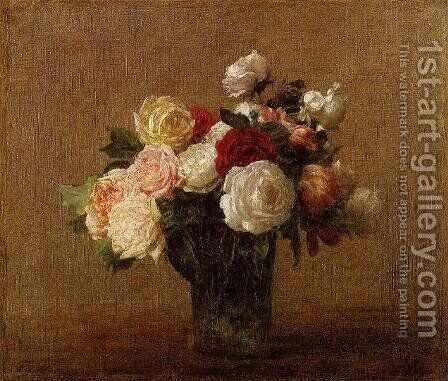 Roses in a Glass Vase by Ignace Henri Jean Fantin-Latour - Reproduction Oil Painting