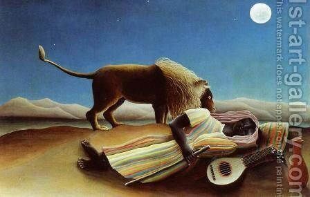 Sleeping Gypsy by Henri Julien Rousseau - Reproduction Oil Painting