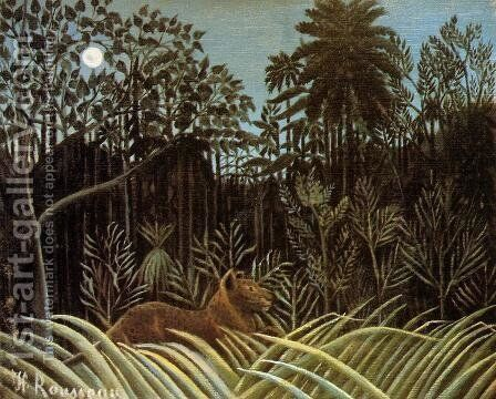 Jungle with Lion by Henri Julien Rousseau - Reproduction Oil Painting