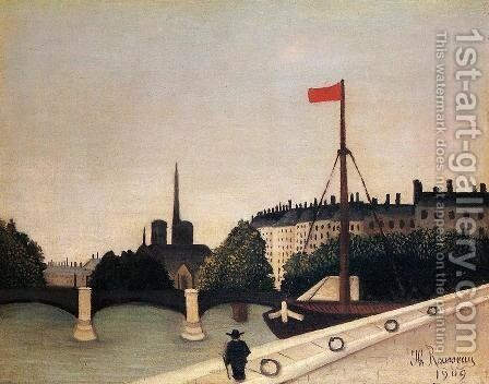 Notre Dame: View of the Ile Saint-Louis from the Quai Henri IV by Henri Julien Rousseau - Reproduction Oil Painting