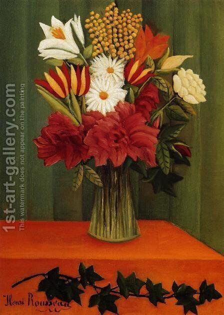 Bouquet of Flowers with an Ivy Branch II by Henri Julien Rousseau - Reproduction Oil Painting