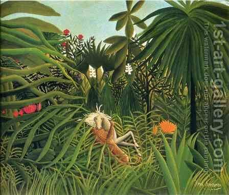 Horse Attacked by a Jaguar by Henri Julien Rousseau - Reproduction Oil Painting