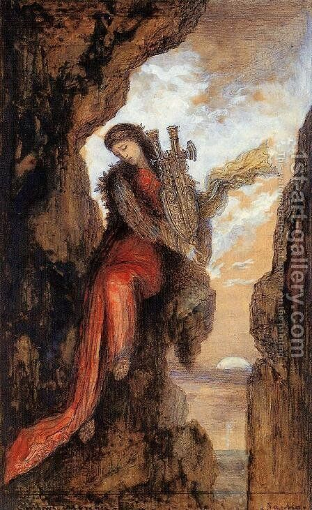 Sappho on the Cliff I by Gustave Moreau - Reproduction Oil Painting