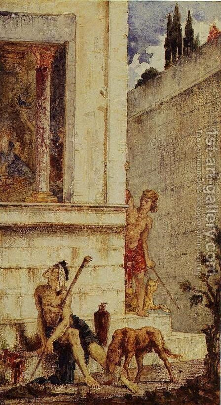 The Wicked Rich and the Poor Lazarus by Gustave Moreau - Reproduction Oil Painting