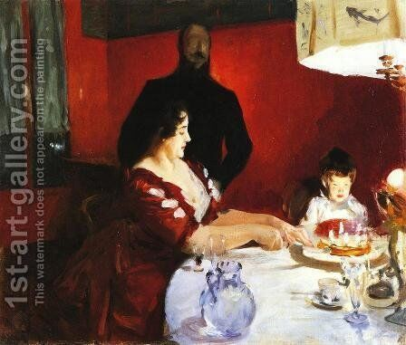 Fete Famillale: The Birthday Party by Sargent - Reproduction Oil Painting