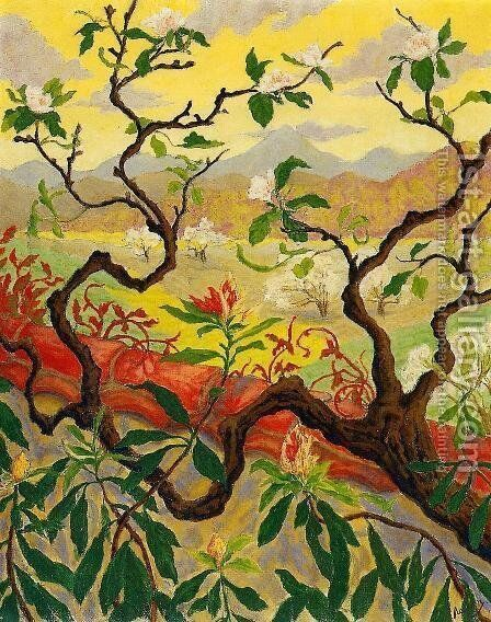 Japanese Style Landscape by Paul-Elie Ranson - Reproduction Oil Painting