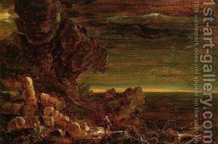 The Cross and the World: Study for 'The Pilgrim of the World at the End of His Journey' by Thomas Cole - Reproduction Oil Painting