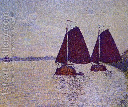Barges on the River Scheldt by Theo van Rysselberghe - Reproduction Oil Painting