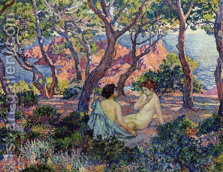 In the Shade of the Pines by Theo van Rysselberghe - Reproduction Oil Painting