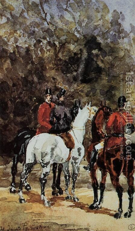 Assembly of Hunters by Toulouse-Lautrec - Reproduction Oil Painting