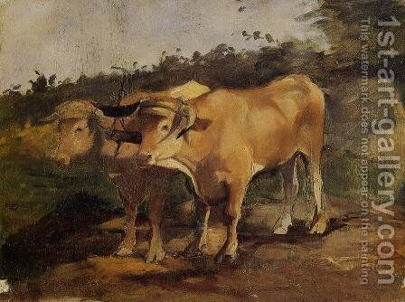 Two Bulls Wearing a Yoke by Toulouse-Lautrec - Reproduction Oil Painting