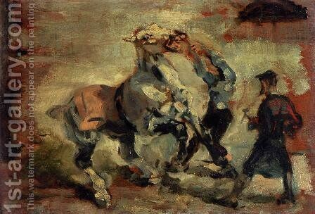 Horse Fighting His Groom by Toulouse-Lautrec - Reproduction Oil Painting