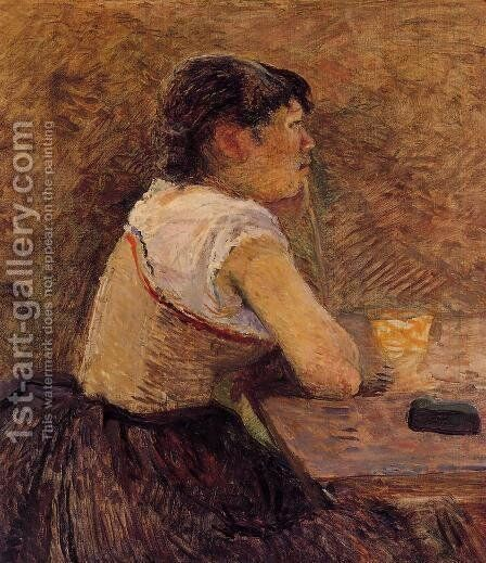 At Gennelle, Absinthe Drinker by Toulouse-Lautrec - Reproduction Oil Painting