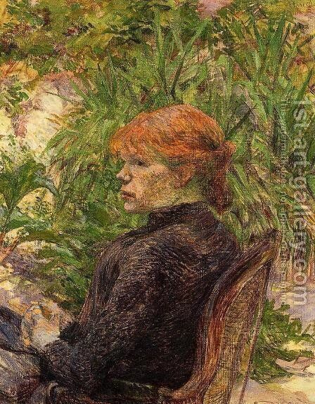 Red Haired Woman Seated in the Garden of M. Forest by Toulouse-Lautrec - Reproduction Oil Painting