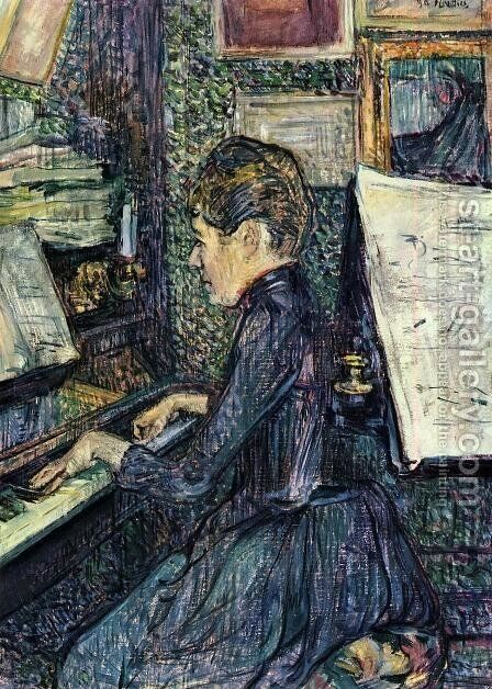 Mille. Dihau Playing the Piano by Toulouse-Lautrec - Reproduction Oil Painting