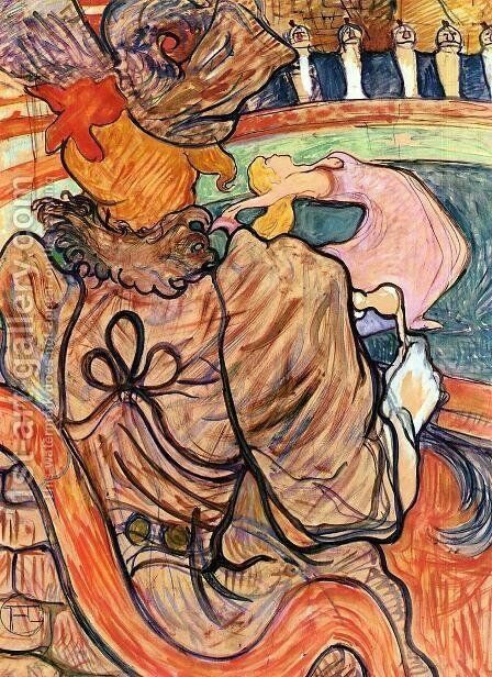 At the Nouveau Cirque: the Dancer and Five Stuffed Shirts by Toulouse-Lautrec - Reproduction Oil Painting